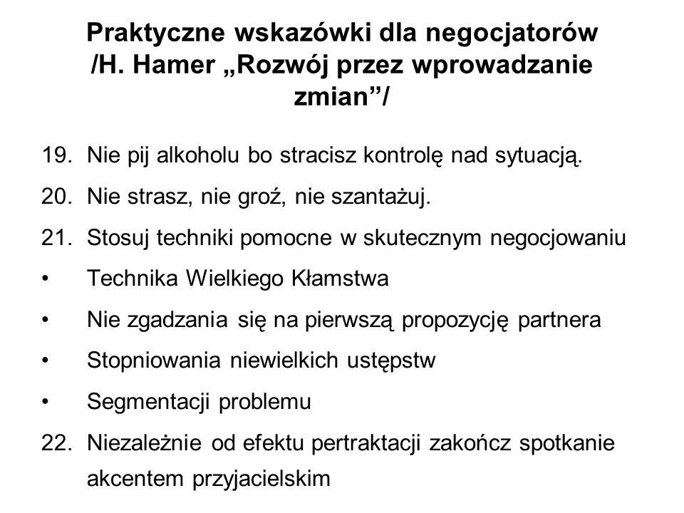 Praktyczne wskazówki dla negocjatorów /H