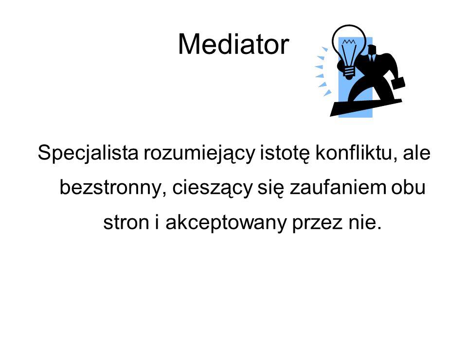Mediator Specjalista rozumiejący istotę konfliktu, ale bezstronny, cieszący się zaufaniem obu stron i akceptowany przez nie.