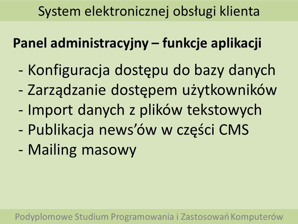 Konfiguracja dostępu do bazy danych Zarządzanie dostępem użytkowników