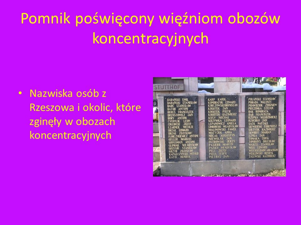 Pomnik poświęcony więźniom obozów koncentracyjnych