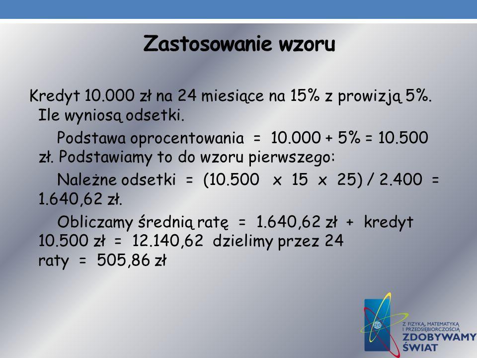 Zastosowanie wzoru Kredyt 10.000 zł na 24 miesiące na 15% z prowizją 5%. Ile wyniosą odsetki.