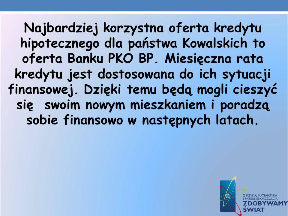 Najbardziej korzystna oferta kredytu hipotecznego dla państwa Kowalskich to oferta Banku PKO BP.