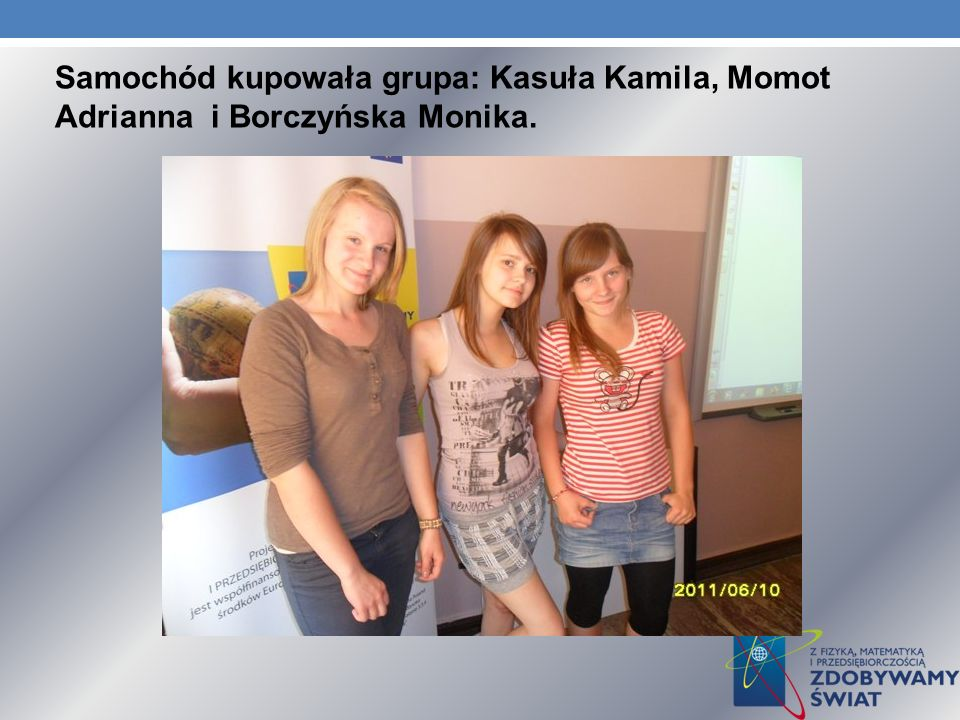 Samochód kupowała grupa: Kasuła Kamila, Momot Adrianna i Borczyńska Monika.