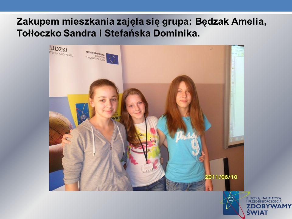Zakupem mieszkania zajęła się grupa: Będzak Amelia, Tołłoczko Sandra i Stefańska Dominika.