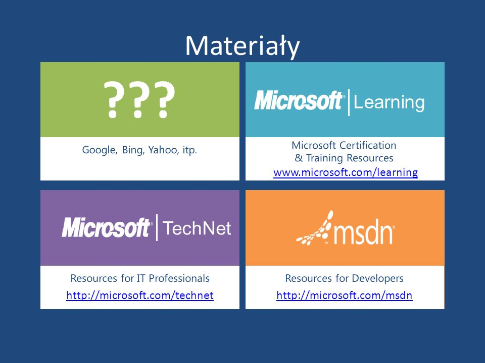 Materiały Learning TechNet www.microsoft.com/learning