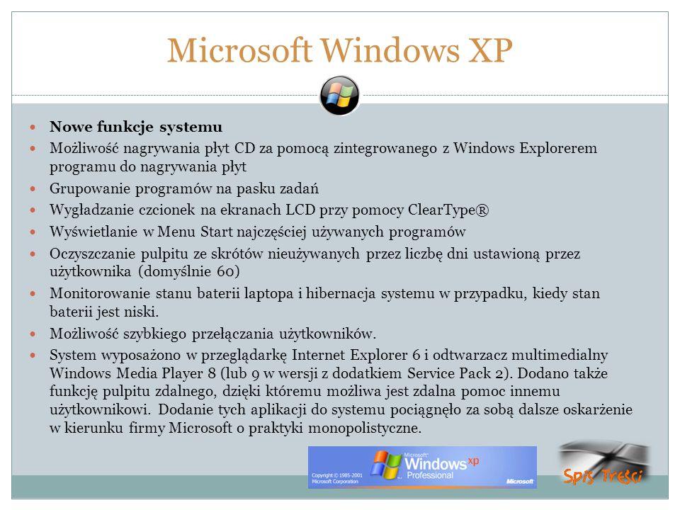 Microsoft Windows XP Nowe funkcje systemu