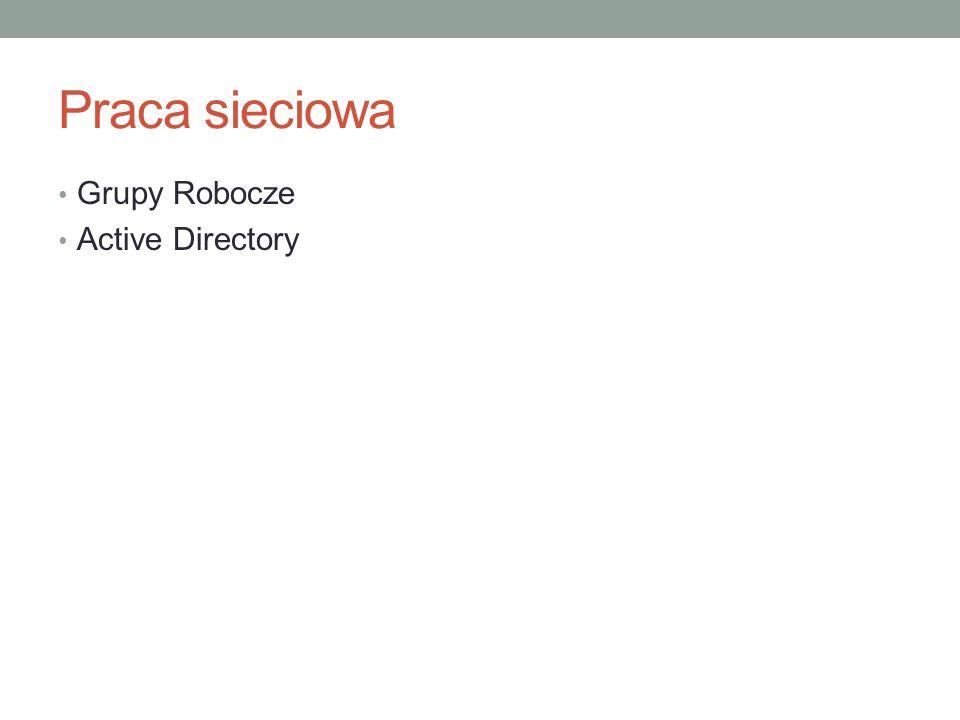 Praca sieciowa Grupy Robocze Active Directory