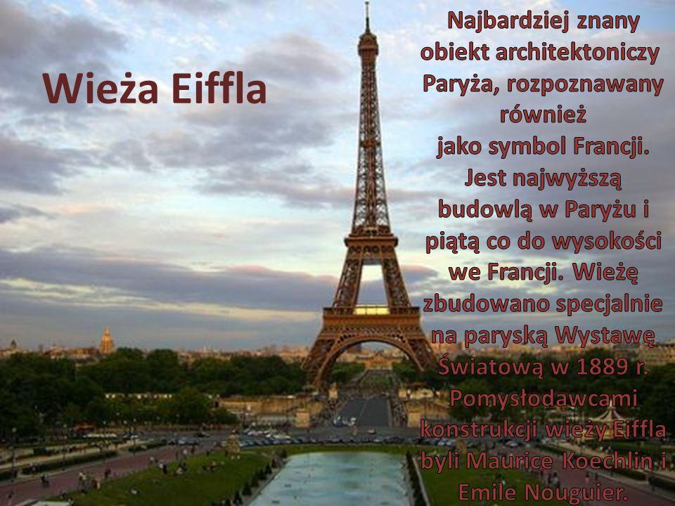 Najbardziej znany obiekt architektoniczy Paryża, rozpoznawany również jako symbol Francji. Jest najwyższą budowlą w Paryżu i piątą co do wysokości we Francji. Wieżę zbudowano specjalnie na paryską Wystawę Światową w 1889 r. Pomysłodawcami konstrukcji wieży Eiffla byli Maurice Koechlin i Emile Nouguier.