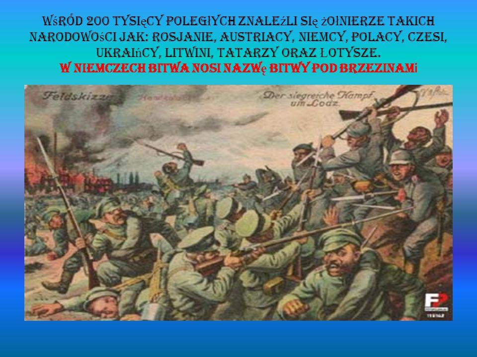 Wśród 200 tysięcy poległych znaleźli się żołnierze takich narodowości jak: Rosjanie, Austriacy, Niemcy, Polacy, Czesi, Ukraińcy, Litwini, Tatarzy oraz Łotysze.