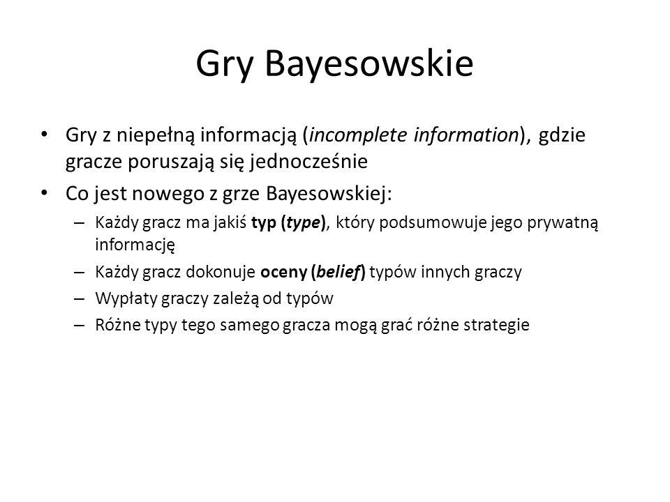 Gry Bayesowskie Gry z niepełną informacją (incomplete information), gdzie gracze poruszają się jednocześnie.