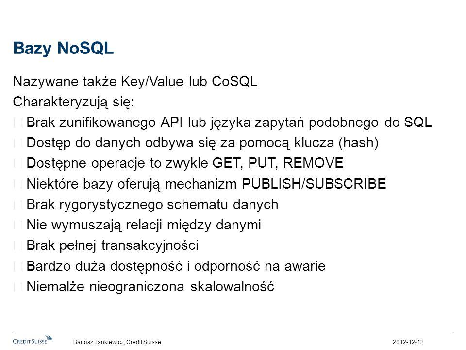 Bazy NoSQL Nazywane także Key/Value lub CoSQL Charakteryzują się: