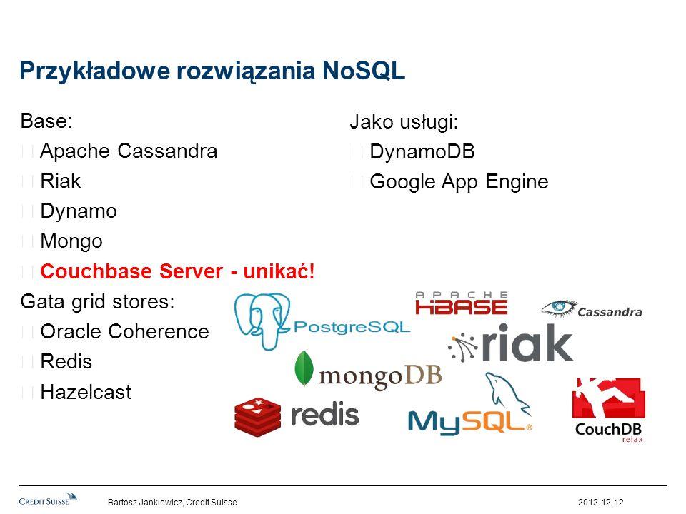 Przykładowe rozwiązania NoSQL