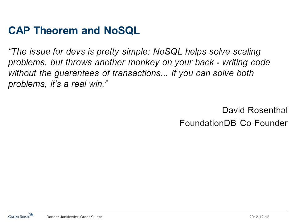 CAP Theorem and NoSQL