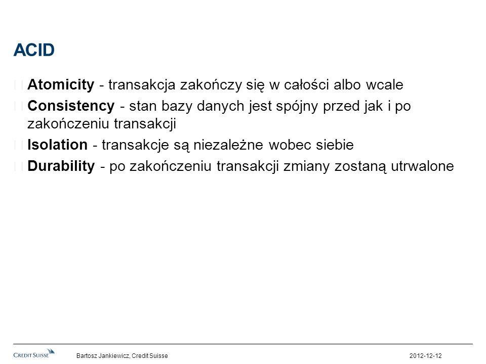 ACID Atomicity - transakcja zakończy się w całości albo wcale