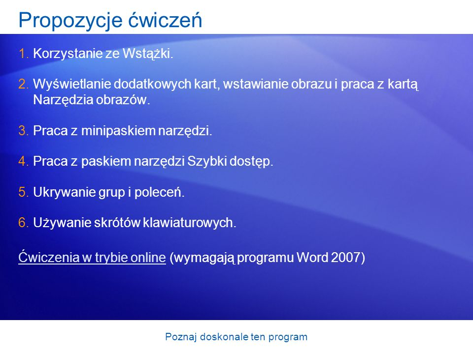 Poznaj doskonale ten program