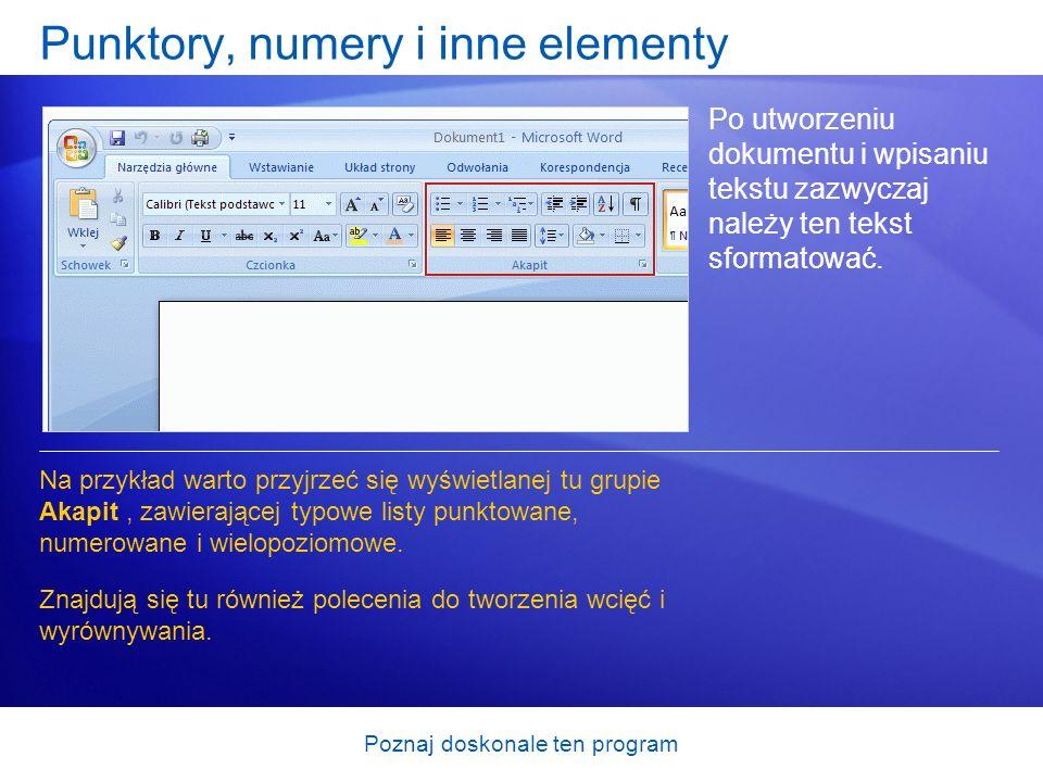 Punktory, numery i inne elementy