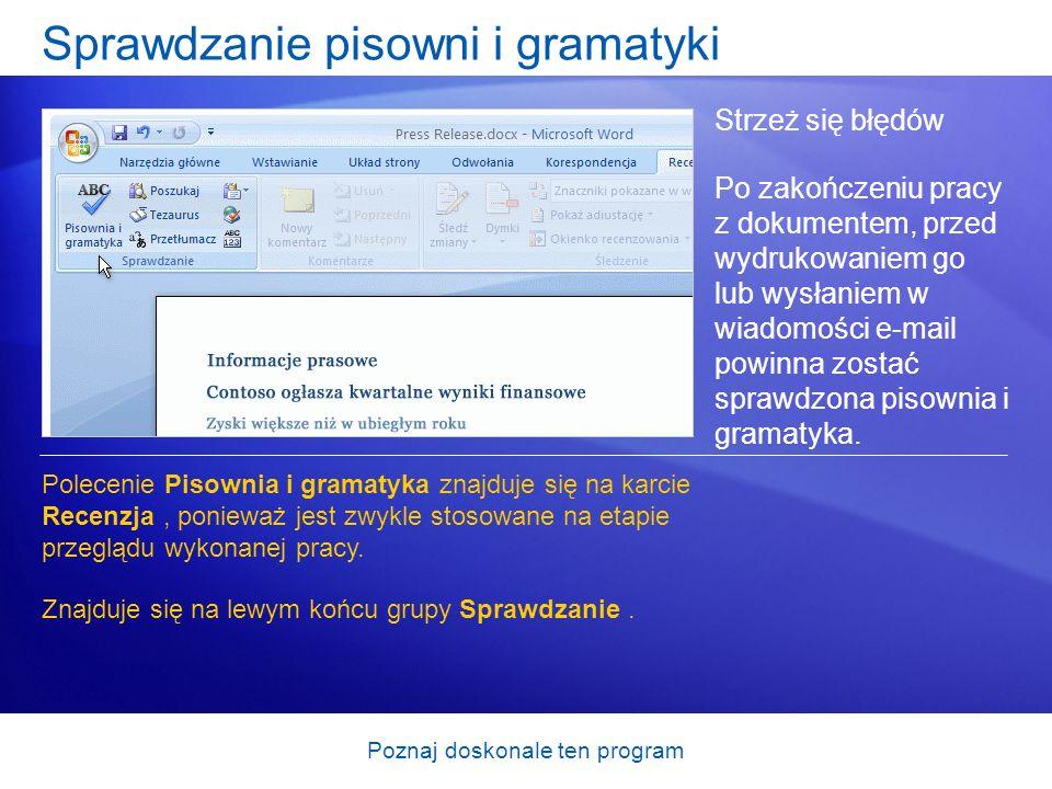 Sprawdzanie pisowni i gramatyki