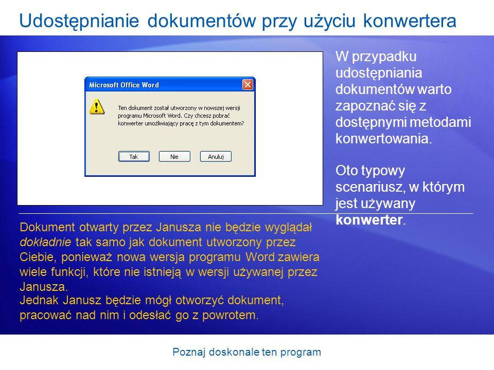 Udostępnianie dokumentów przy użyciu konwertera