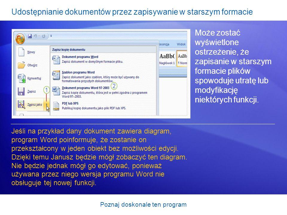 Udostępnianie dokumentów przez zapisywanie w starszym formacie