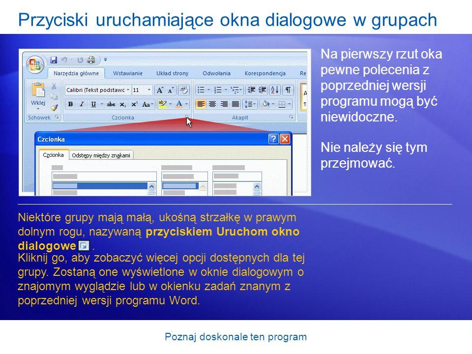 Przyciski uruchamiające okna dialogowe w grupach
