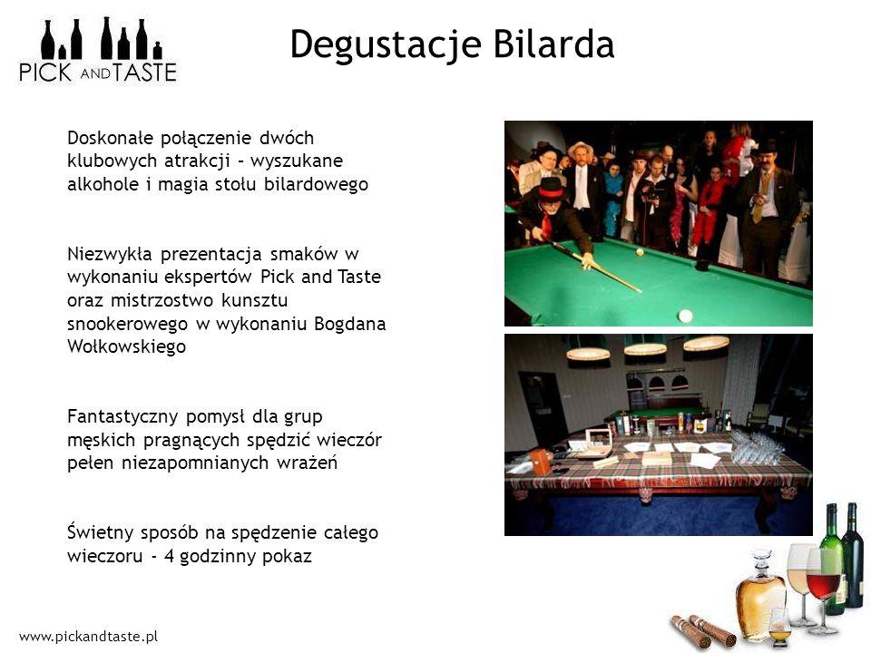 Degustacje Bilarda Doskonałe połączenie dwóch klubowych atrakcji – wyszukane alkohole i magia stołu bilardowego.