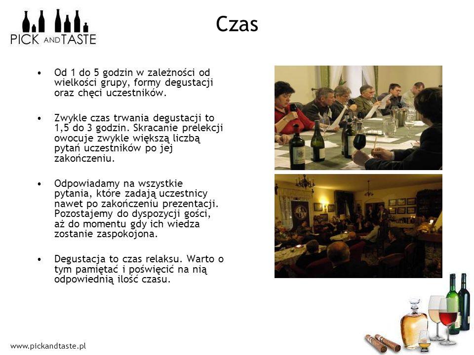 Czas Od 1 do 5 godzin w zależności od wielkości grupy, formy degustacji oraz chęci uczestników.