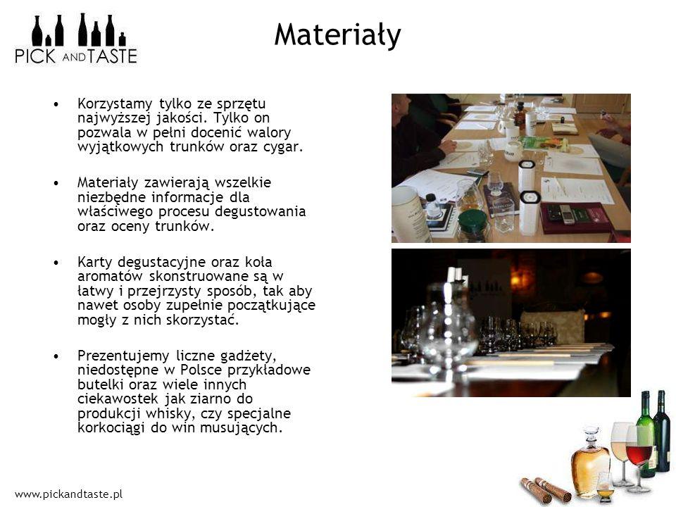 MateriałyKorzystamy tylko ze sprzętu najwyższej jakości. Tylko on pozwala w pełni docenić walory wyjątkowych trunków oraz cygar.