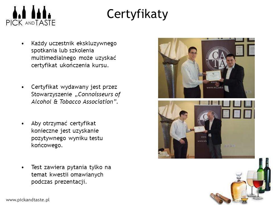 Certyfikaty Każdy uczestnik ekskluzywnego spotkania lub szkolenia multimedialnego może uzyskać certyfikat ukończenia kursu.