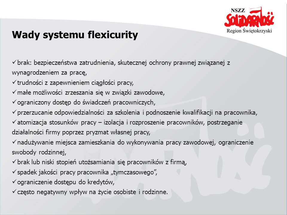 Wady systemu flexicurity