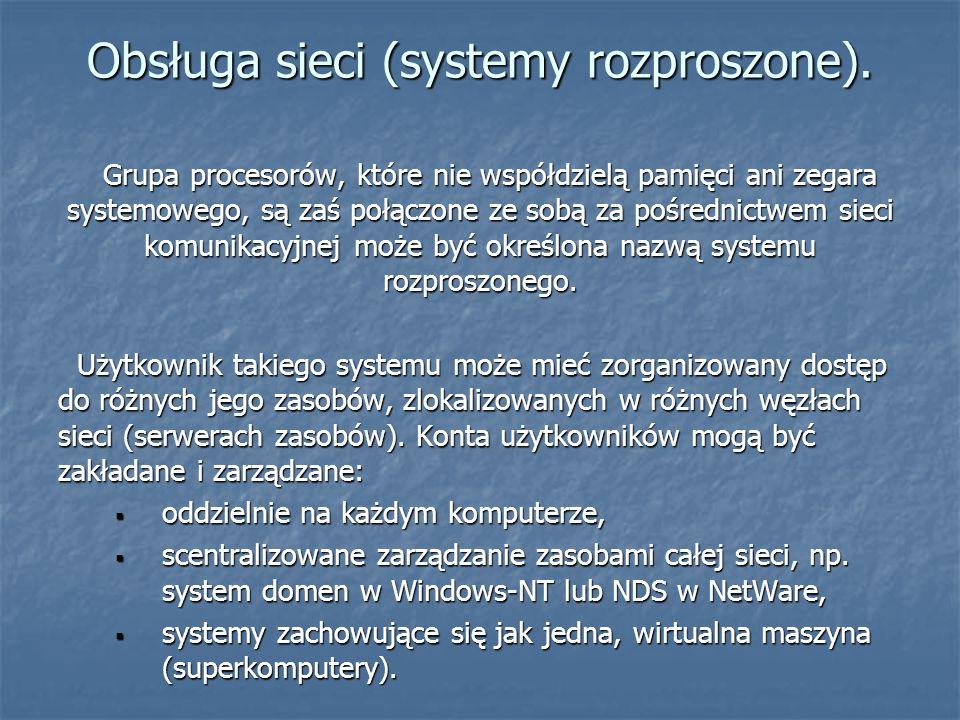 Obsługa sieci (systemy rozproszone).