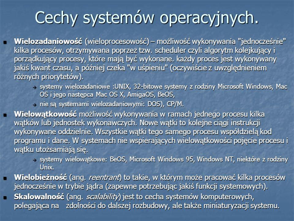 Cechy systemów operacyjnych.