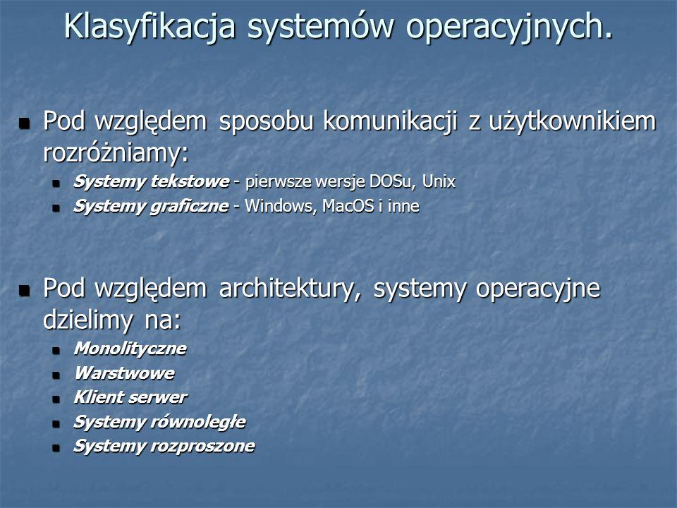 Klasyfikacja systemów operacyjnych.