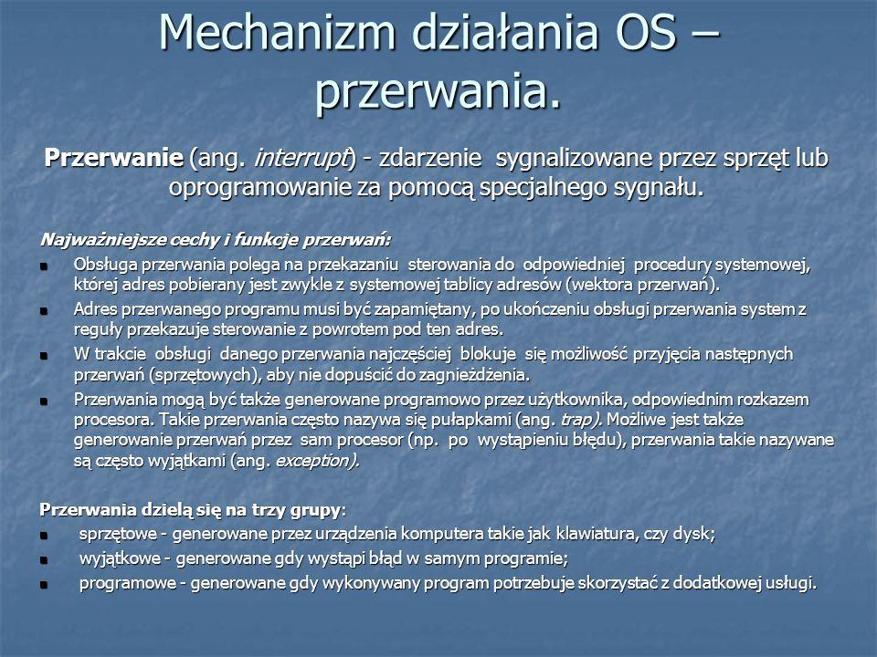 Mechanizm działania OS – przerwania.