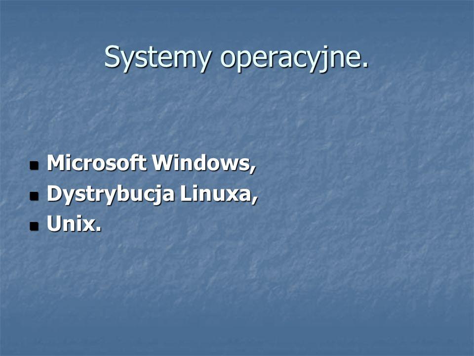 Systemy operacyjne. Microsoft Windows, Dystrybucja Linuxa, Unix.