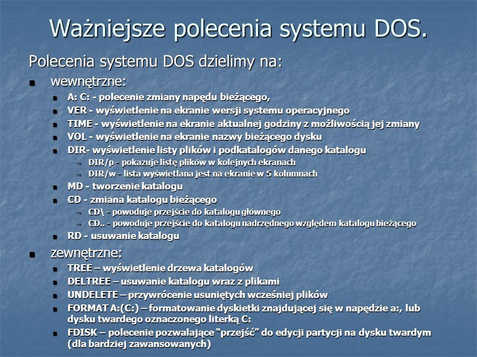 Ważniejsze polecenia systemu DOS.