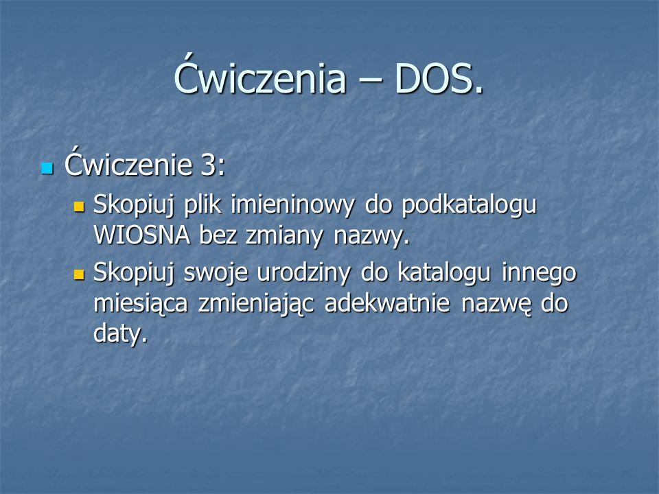 Ćwiczenia – DOS. Ćwiczenie 3: