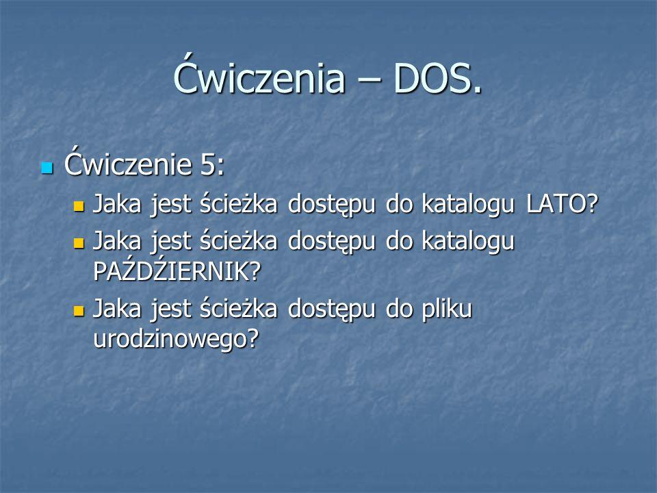 Ćwiczenia – DOS. Ćwiczenie 5: