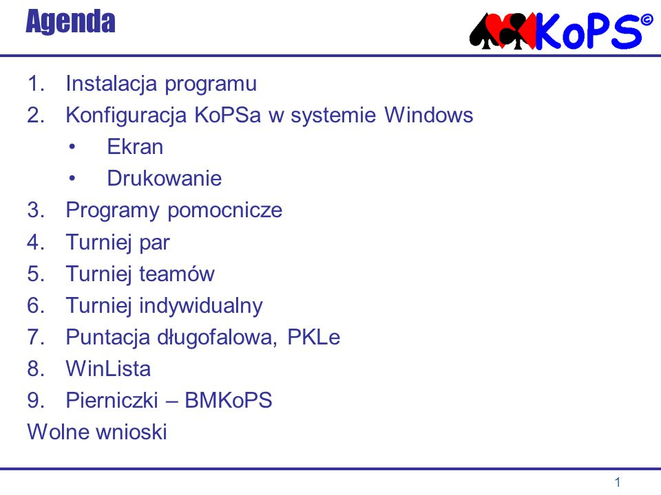 Agenda Instalacja programu Konfiguracja KoPSa w systemie Windows Ekran