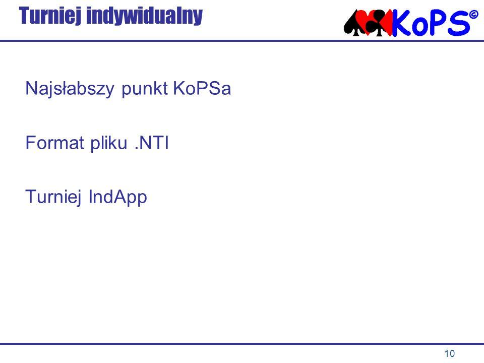 Turniej indywidualny Najsłabszy punkt KoPSa Format pliku .NTI