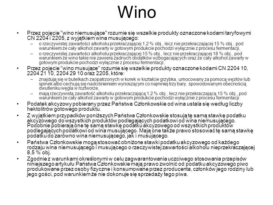 Wino Przez pojęcie wino niemusujące rozumie się wszelkie produkty oznaczone kodami taryfowymi CN 2204 i 2205, z wyjątkiem wina musującego: