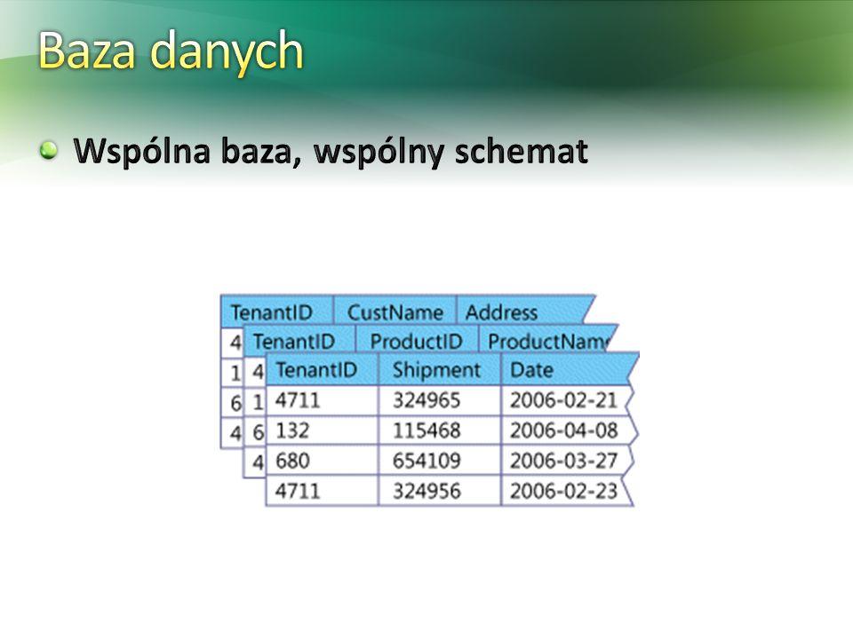 Baza danych Wspólna baza, wspólny schemat + brak operacji ddl