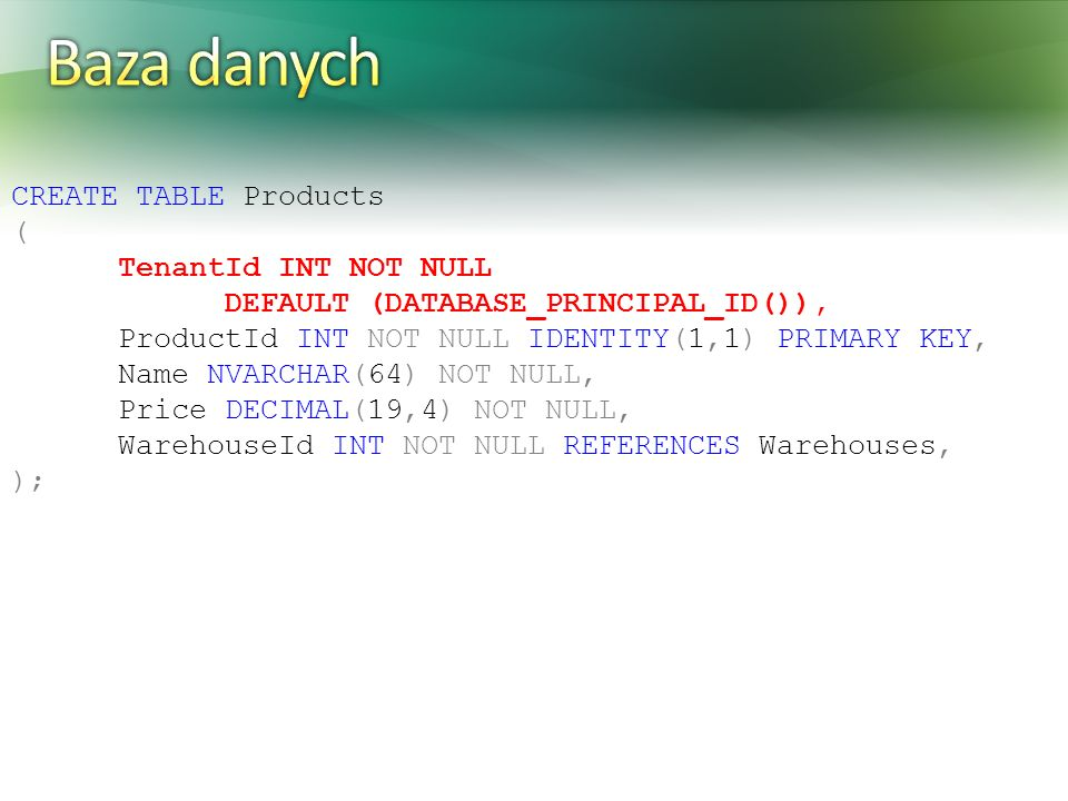 Baza danych CREATE TABLE Products ( TenantId INT NOT NULL