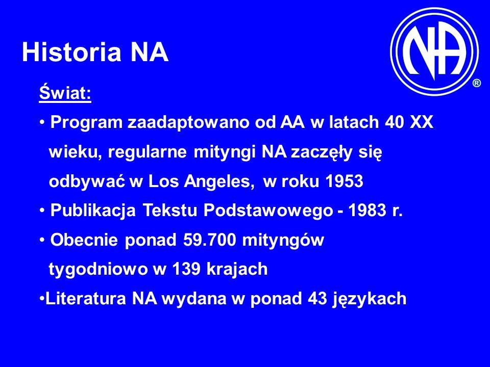 Historia NA Świat: Program zaadaptowano od AA w latach 40 XX