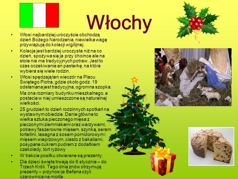 Włochy Włosi najbardziej uroczyście obchodzą dzień Bożego Narodzenia, niewielka wagę przywiązują do kolacji wigilijnej.