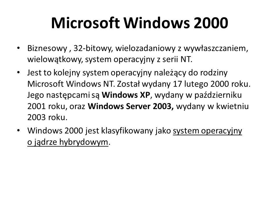 Microsoft Windows 2000 Biznesowy , 32-bitowy, wielozadaniowy z wywłaszczaniem, wielowątkowy, system operacyjny z serii NT.