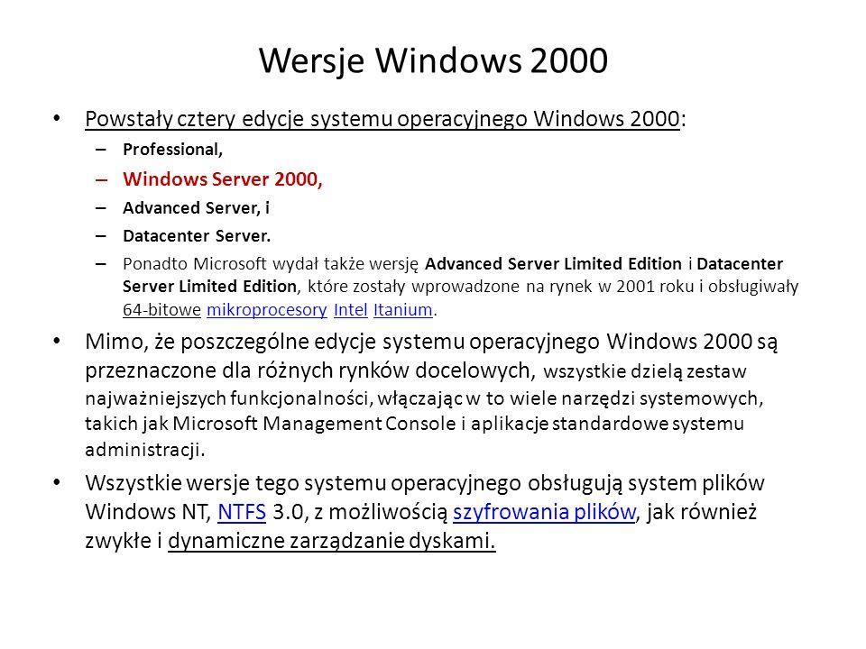 Wersje Windows 2000 Powstały cztery edycje systemu operacyjnego Windows 2000: Professional, Windows Server 2000,