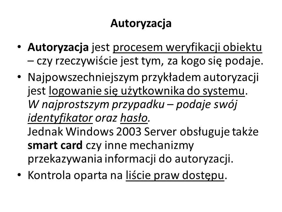 Autoryzacja Autoryzacja jest procesem weryfikacji obiektu – czy rzeczywiście jest tym, za kogo się podaje.