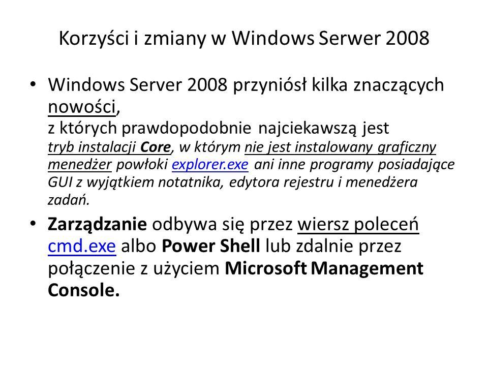 Korzyści i zmiany w Windows Serwer 2008