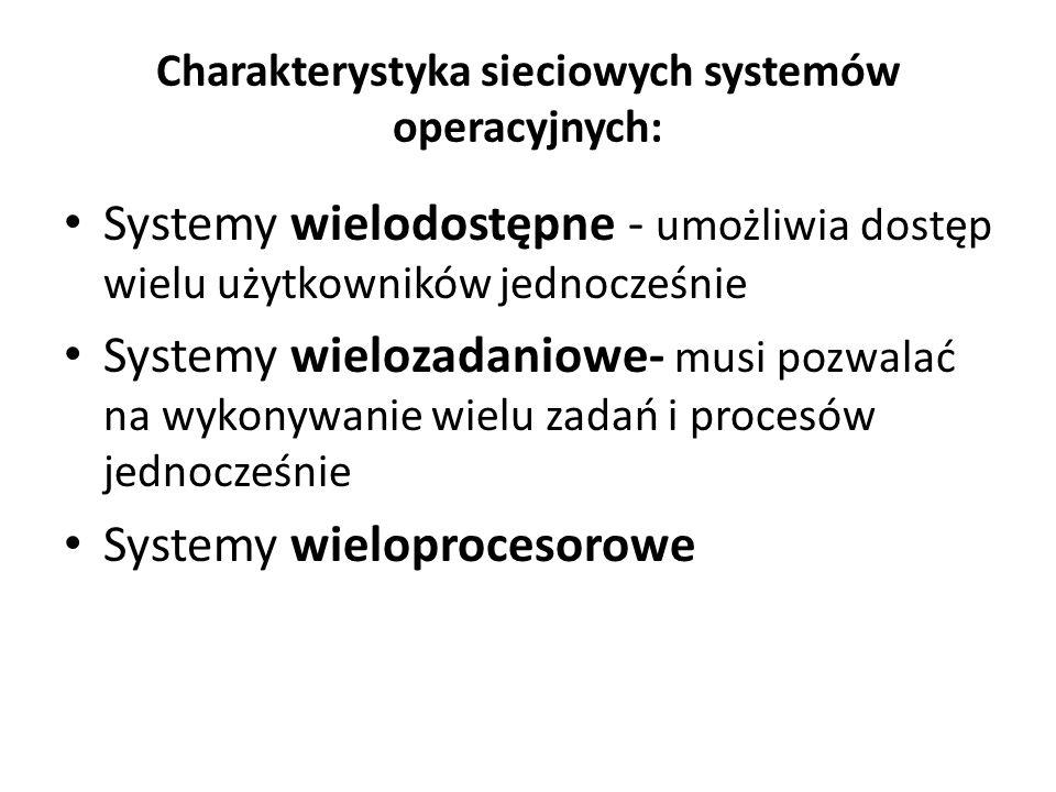 Charakterystyka sieciowych systemów operacyjnych: