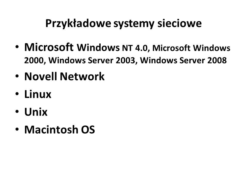 Przykładowe systemy sieciowe
